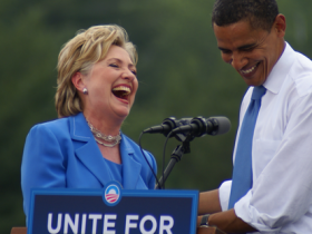 Hilary and Barry laugh