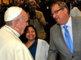 Rick Warren meets with the Pope,. Photo via the Orange County Register
