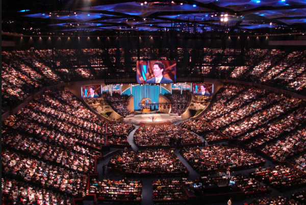 Lakewood Church hosts 50,000 each week, and many more online.